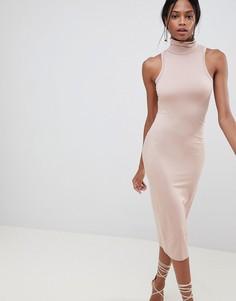 Облегающее платье с воротником-поло ASOS DESIGN - Розовый