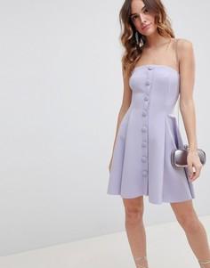 Короткое приталенное платье-бандо на пуговицах ASOS DESIGN - Серый