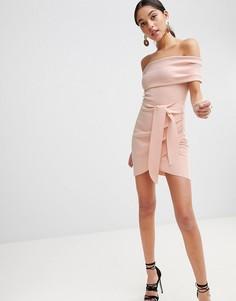 Облегающее платье мини с открытыми плечами Bec & Bridge - Розовый