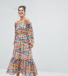 Платье макси с открытыми плечами и принтом Reclaimed Vintage Inspired - Мульти