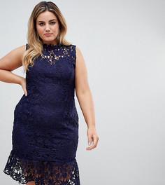 Кружевное платье с высоким вырезом и баской Paper Dolls Plus - Темно-синий