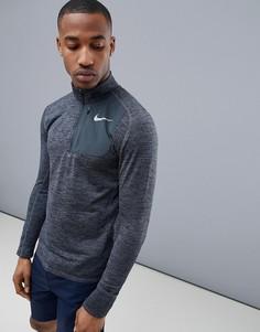 Черный свитшот с короткой молнией Nike Running Therma Sphere Element 857829-010 - Черный