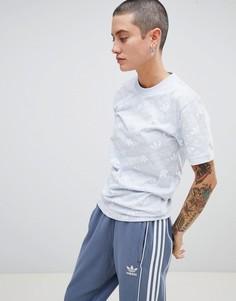 Синяя футболка с принтом-трилистника adidas Originals - Синий