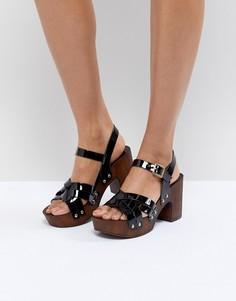 Кожаные босоножки на каблуке ASOS DESIGN - Черный
