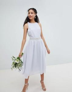 Платье миди с пышной юбкой TFNC - Синий