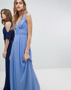 Платье макси с запахом и завязывающимся сзади поясом TFNC - Синий