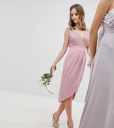Платье миди с запахом и отделкой TFNC Petite - Розовый
