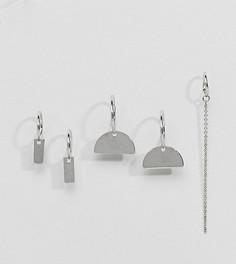 Набор из 3 пар сережек-колец с подвесками (планки / цепочки) ASOS DESIGN - Серебряный