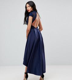 Платье миди с открытой спиной и асимметричным краем Chi Chi London Tall - Темно-синий