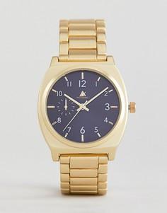 Золотистые наручные часы с темно-синим циферблатом ASOS - Золотой
