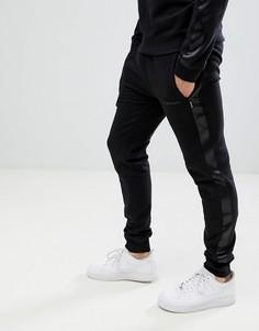 Джоггеры с атласными полосками D-Struct - Черный