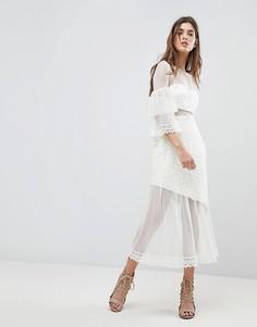 Платье миди с рукавами клеш Three Floor - Белый