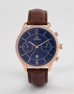 Классические часы с коричневым ремешком, золотисто-розовым корпусом и темно-синим циферблатом ASOS DESIGN - Коричневый