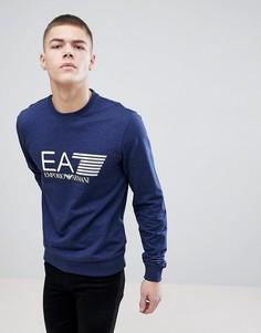 Синий свитшот с круглым вырезом и большим логотипом EA7 - Синий