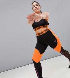 Черно-оранжевые леггинсы со вставками Puma Plus эксклюзивно для ASOS - Оранжевый