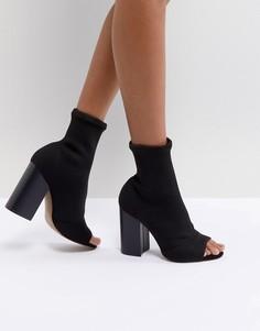 Трикотажные ботильоны на каблуке с открытым носком ASOS DESIGN Even - Черный