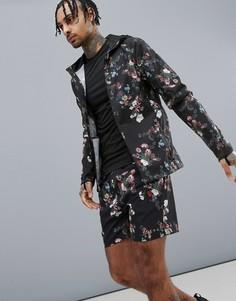 Куртка для бега с цветочным принтом ASOS 4505 - Черный