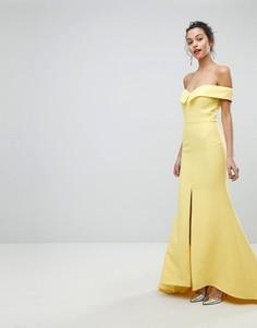 Платье макси с широким вырезом и разрезом до бедра Jarlo - Желтый