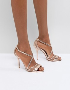 Босоножки металлик на каблуке Head Over Heels by Dune - Золотой