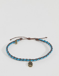 Коричнево-голубой плетеный браслет на ногу с подвеской в виде золотистого черепа Classics 77 - Синий