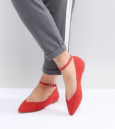 Туфли на плоской подошве с острым носом Faith Wide Fit - Красный