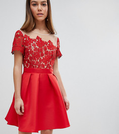 Платье мини для выпускного с кружевным топом Little Mistress Petite - Красный