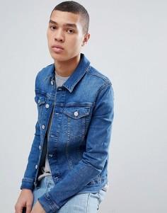 Выбеленная синяя облегающая джинсовая куртка River Island - Синий