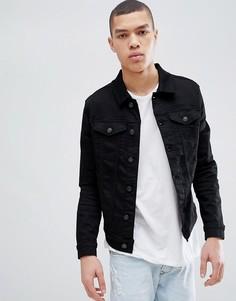 Черная джинсовая куртка облегающего кроя River Island - Черный