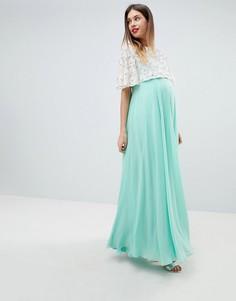 Кружевное платье макси с кроп-топом ASOS DESIGN Maternity - Зеленый