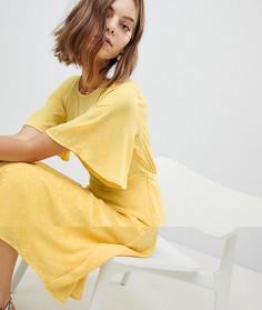 Короткое приталенное платье с оборками Vero Moda - Желтый
