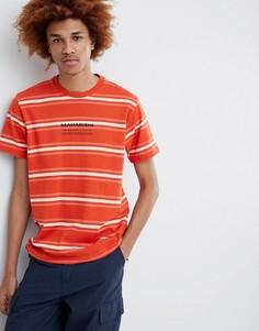 Оранжевая футболка в полоску с логотипом на груди Maharishi - Оранжевый