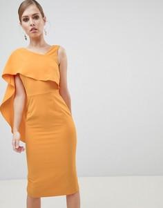 Платье миди на одно плечо с драпировкой Lavish Alice - Желтый