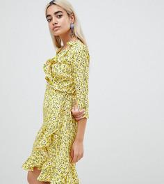 Платье с запахом и цветочным принтом Vero Moda Petite - Желтый