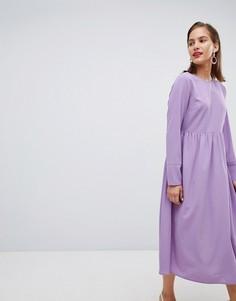 Платье миди Pieces - Фиолетовый