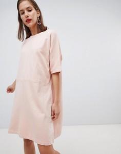 Трикотажное платье с короткими рукавами Pieces - Розовый