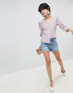 Джинсовые шорты в винтажном стиле Pieces - Синий