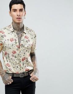 Атласная рубашка классического кроя с цветочным принтом ASOS DESIGN - Бежевый