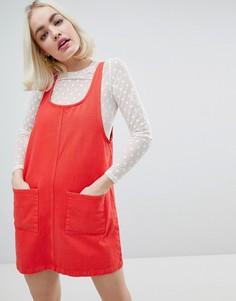 Джинсовое платье с карманами Monki - Красный