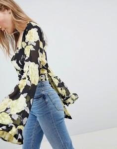 Блузка с цветочным принтом, запахом и рукавами-кимоно ASOS DESIGN - Мульти