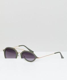 Круглые солнцезащитные очки с золотистой планкой AJ Morgan - Зеленый