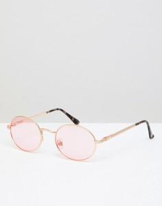 Тонированные солнцезащитные очки в овальной оправе River Island - Розовый