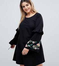 Платье с вышивкой и оборкой Junarose - Черный