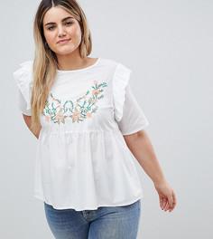 Блузка с вышивкой и оборками Junarose - Белый