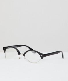 Черные очки в стиле ретро с прозрачными стеклами AJ Morgan - Черный