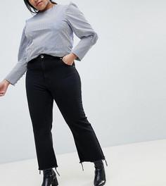 Укороченные черные джинсы клеш с необработанным краем ASOS DESIGN Curve - Черный