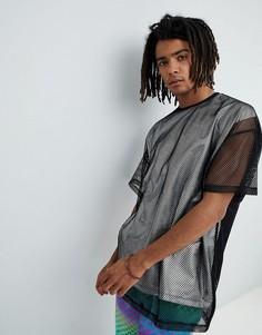 Оверсайз-футболка с сетчатым верхним слоем и эффектом металлик ASOS DESIGN - Серебряный