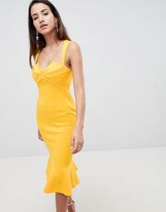 Платье миди с отделкой и баской ASOS DESIGN - Желтый