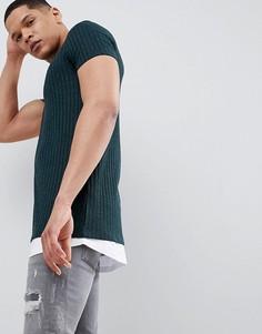 Зеленая длинная футболка в рубчик ASOS DESIGN - Зеленый