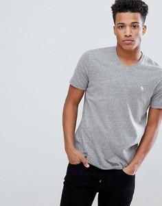 Серая футболка с V-образным вырезом и логотипом Abercrombie & Fitch - Серый