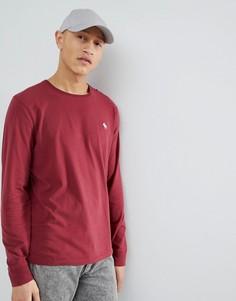 Бордовый лонгслив с логотипом Abercrombie & Fitch - Красный